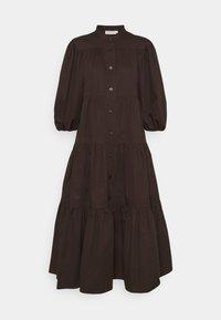 Tory Burch - ARTIST BUTTON FRONT DRESS - Shirt dress - deep chocolate - 1