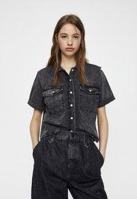 PULL&BEAR - Button-down blouse - dark grey - 0