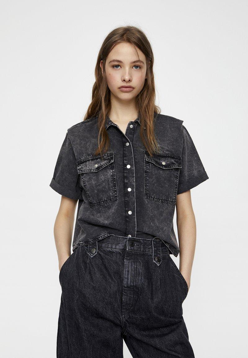 PULL&BEAR - Button-down blouse - dark grey