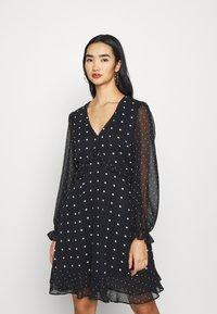 Miss Selfridge - MIXED SPOT DRESS - Day dress - black - 0