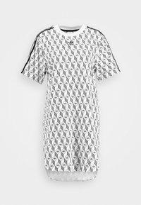 adidas Originals - GRAPHICS TREFOIL MONOGRAM TEE DRESS - Robe en jersey - white/black - 4
