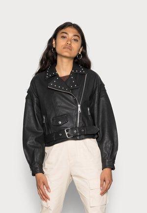 MERYN STUDDED BIKER JACKET WOMEN - Leather jacket - black