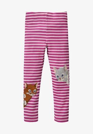 MIT APPLIKATION - Leggings - Trousers - rosarot/naturweiß, katzen