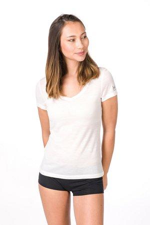 SUPER.NATURAL W BASE V-NECK TEE 140 - Basic T-shirt - white