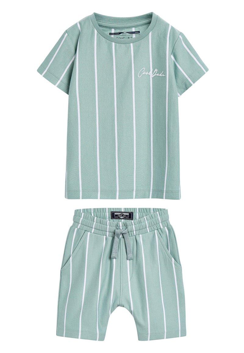 Next - BLUE VERTICAL STRIPE T-SHIRT AND SHORTS SET (3MTHS-7YRS) - Shorts - blue