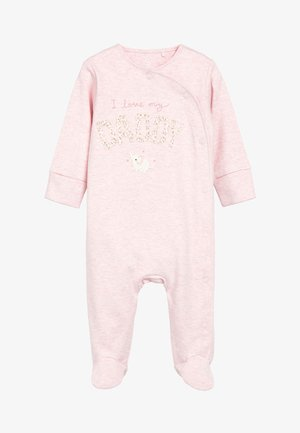 PINK/WHITE 2 PACK MUMMY AND DADDY ELEPHANT SLEEPSUITS (0MTHS-2YR - Pyjamas - pink