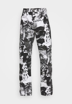 SPACE PAPER COLLAGE TROUSERS - Relaxed fit jeans - black