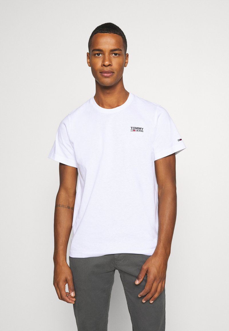 Tommy Jeans - REGULAR CORP LOGO CNECK - T-shirt basic - white
