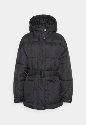 SELF BELTED PUFFER - Winter jacket - black