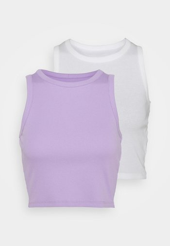 2 PACK - Top - white/lilac