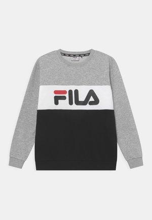 CARLOTTA BLOCKED CREW UNISEX - Sweatshirt - black/light grey melange/bright white