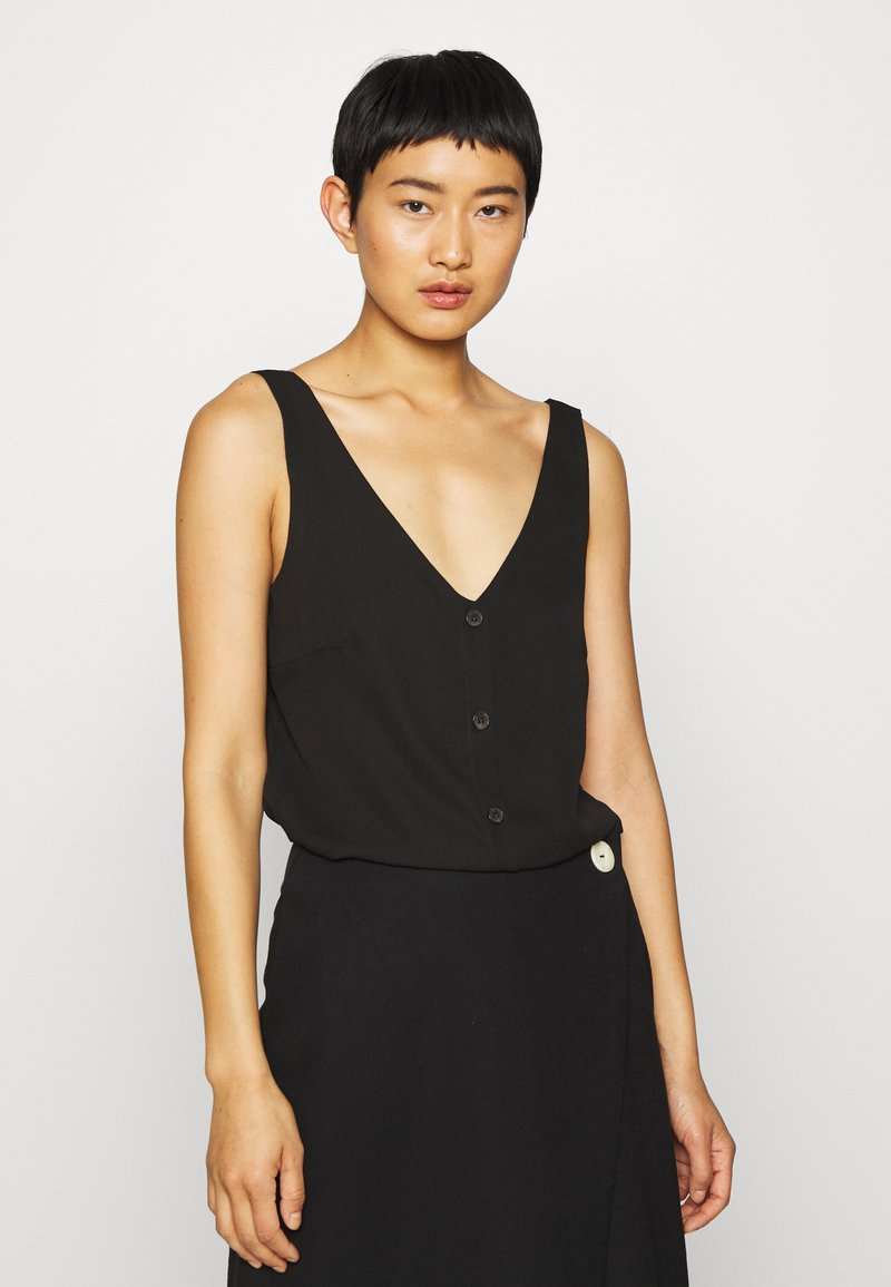 Wallis - V NECK BUTTON CAMI - Bluzka - black