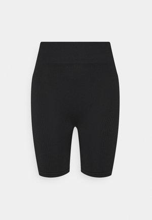 RIBBED LONG CYCLING SHORTS - Collant - black