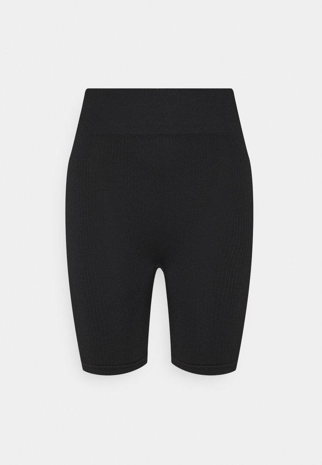 RIBBED LONG CYCLING SHORTS - Leggings - black