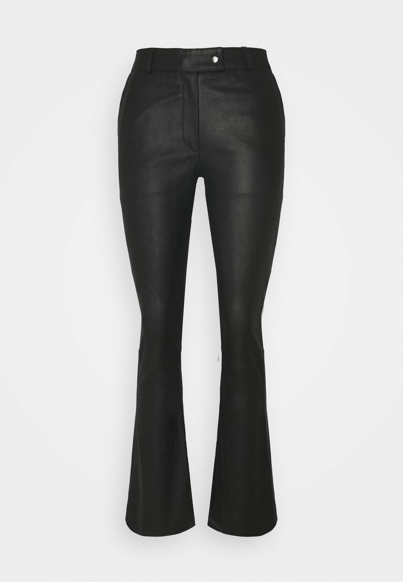 DEPECHE - CHINO - Leather trousers - black