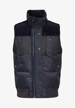 DENIM MIX QUILTED VEST - Jas - mazarine blue