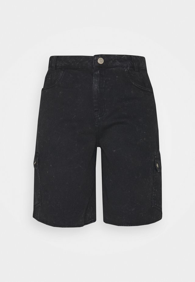 NMLUCKY LONGBOARDER - Shorts di jeans - black