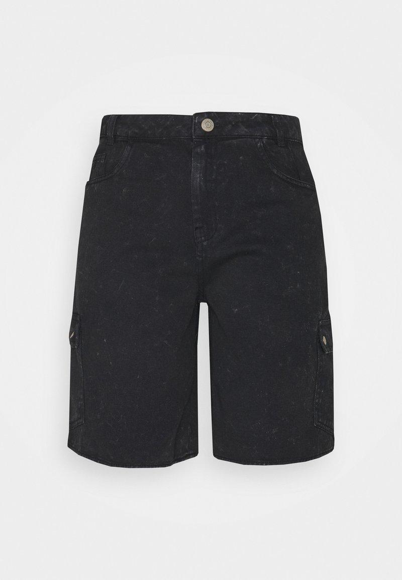 Noisy May Tall - NMLUCKY LONGBOARDER - Jeansshort - black