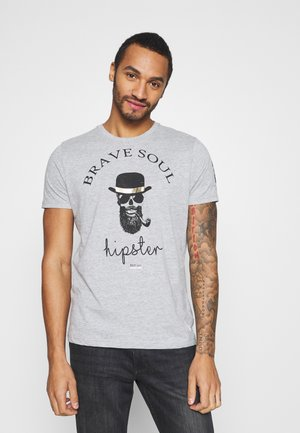 MIDASX - Print T-shirt - grey marl/black/gold
