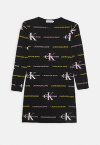 Calvin Klein Jeans - MIX LOGO DRESS - Vestito di maglina - black - 1