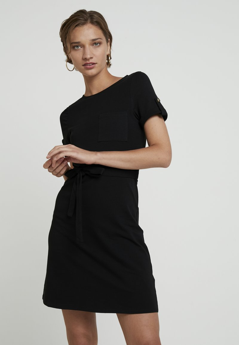 Dorothy Perkins - PLAIN TIE DRESS - Jersey dress - black