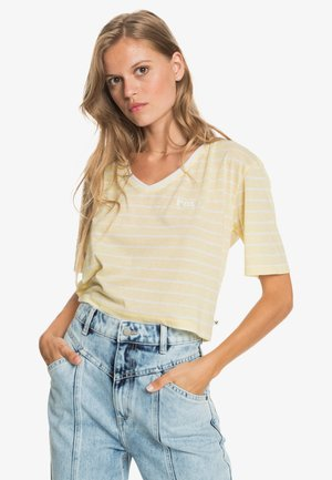 Print T-shirt - pale banana kuta stripes