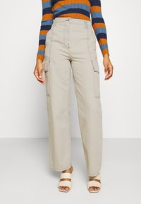 Topshop - STRAIGHT LEG SIDE POCKET TROUSERS - Trousers - stone - 0