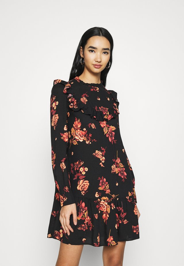 BAILEY FLORAL MINI - Korte jurk - black