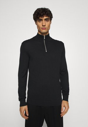 ZIPPED HIGH CREWNECK - Jersey de punto - black
