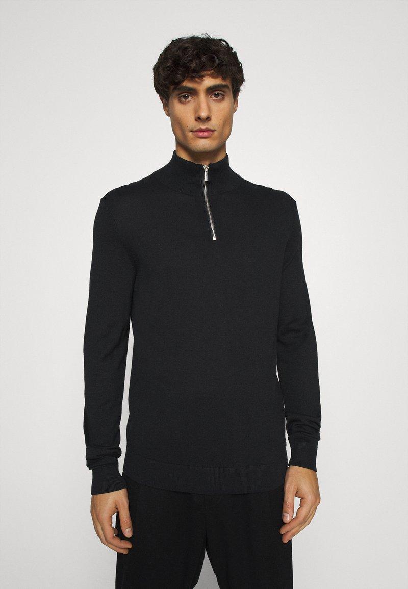 TOM TAILOR DENIM - ZIPPED HIGH CREWNECK - Jersey de punto - black