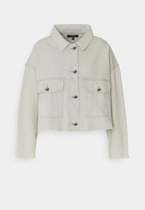 PLEAT BACK RAW HEM JACKET - Denim jacket - grey