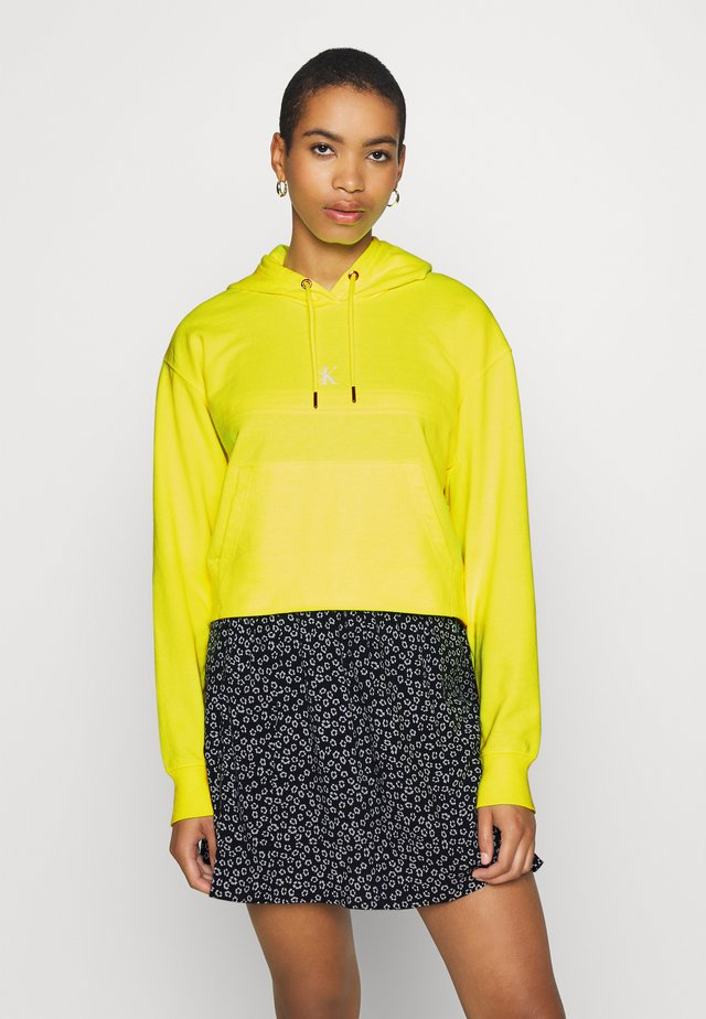 PUFF PRINT CROPPED HOODIE - Bluza z kapturem - safety yellow