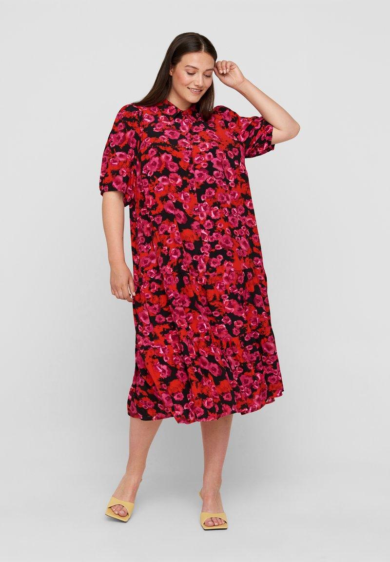 Zizzi - Maxi dress - red flower aop