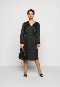 ONLY Carmakoma - CARDAMINA WRAP KNEE DRESS - Day dress - black - 1