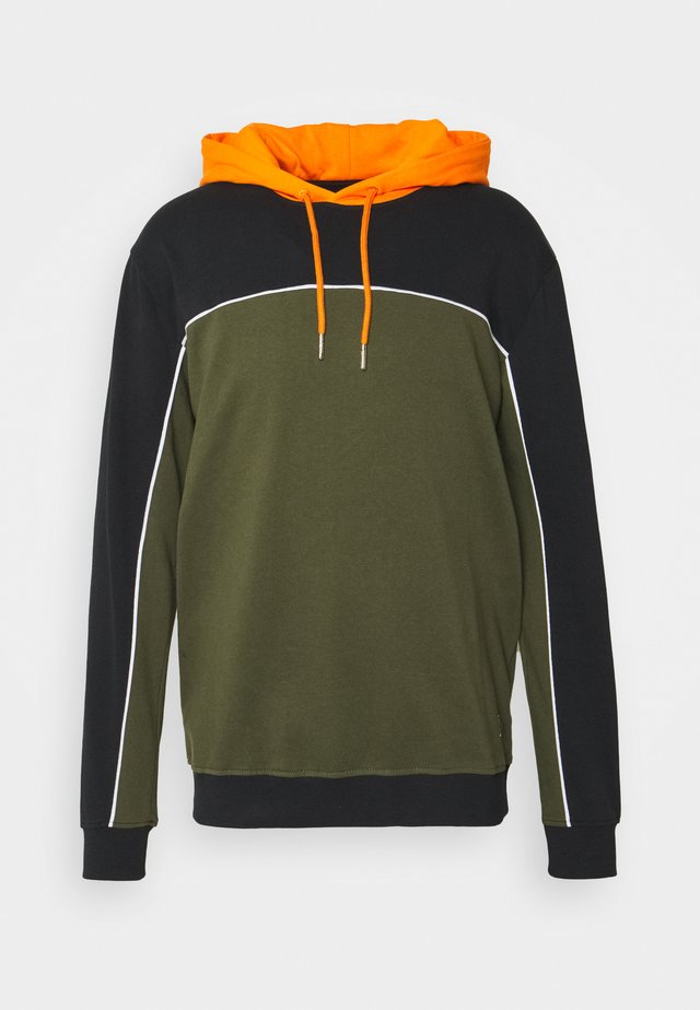 COLOUR BLOCK HOODIE - Sudadera - black mix