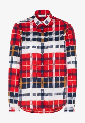 MODERN FIT - Button-down blouse - rot/blau/weiss