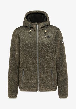 Zip-up hoodie - dunkeloliv melange