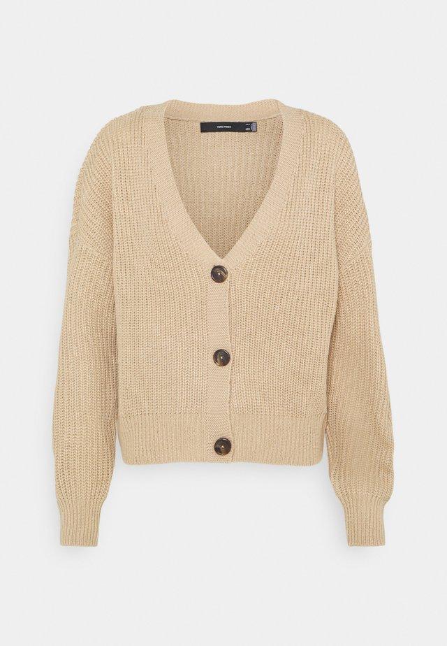 VMLEA V NECK CARDIGAN  - Cardigan - beige