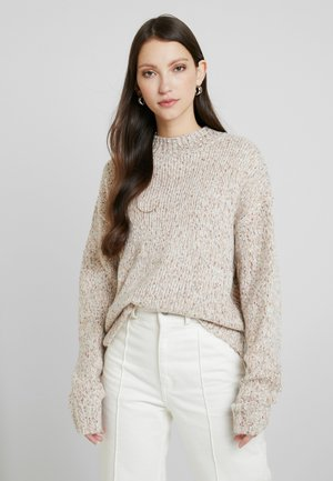 BOBBLE CROP STAND NECK - Jumper - oatmeal