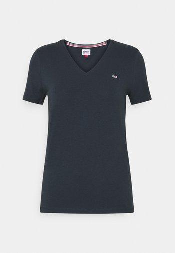 SKINNY STRETCH V NECK - T-shirt basique - blue