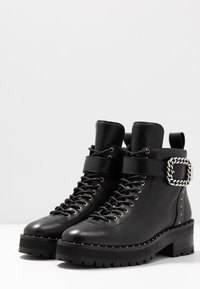 The Kooples - BUCKLE BOOT - Ankle boots - black/silver - 4