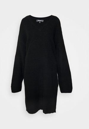 V NECK DRESS - Robe pull - black