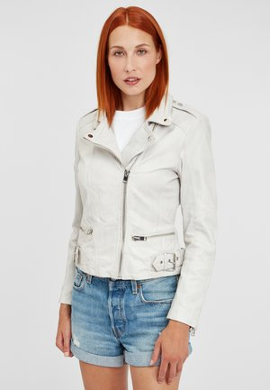 G2GTallin SF LADUV - Leather jacket - white/light grey