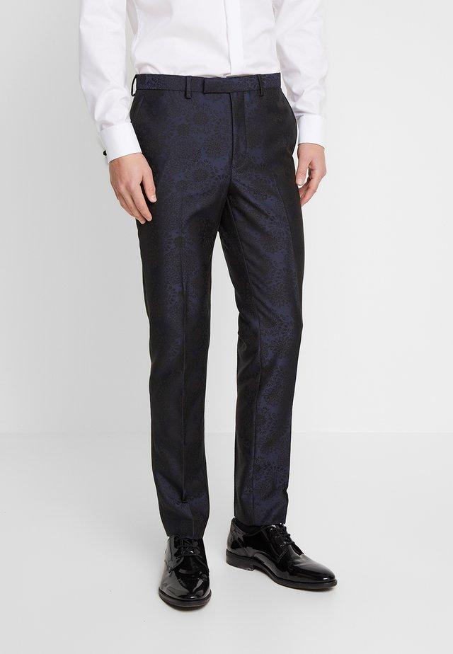 FLORAL JACQUARD - Pantalón de traje - black