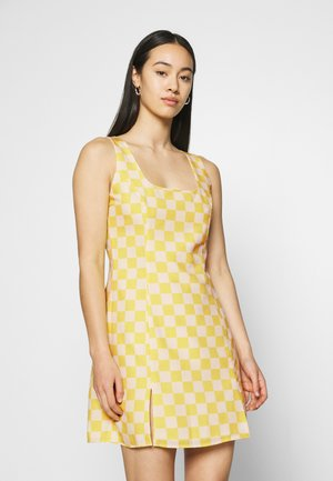 MINI DRESS WITH FRONT SIDE SPLITS - Jurk - yellow checkboard