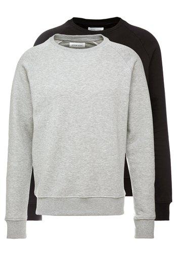 2 PACK - Collegepaita - mottled light grey/black