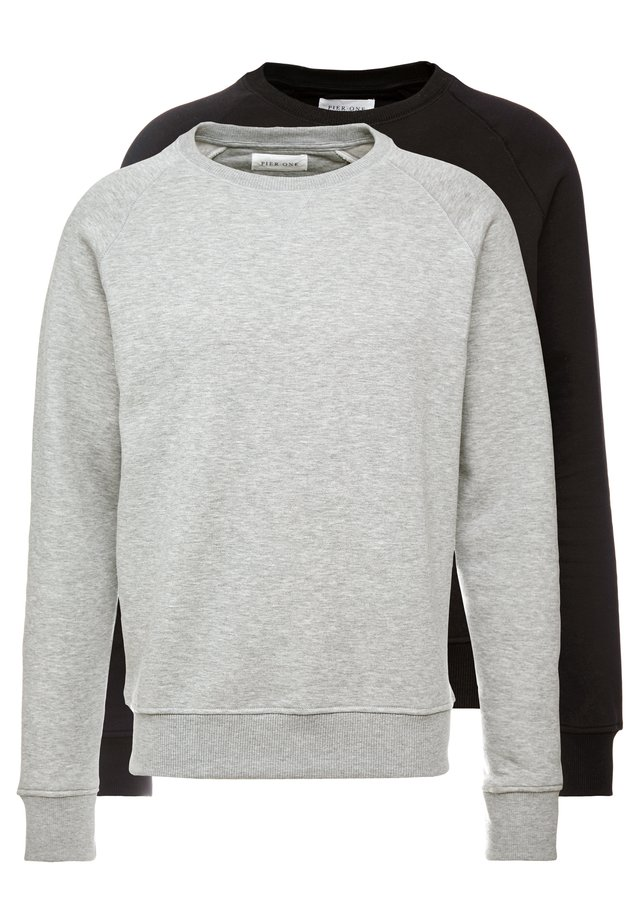 2 PACK - Sweatshirt - mottled light grey/black