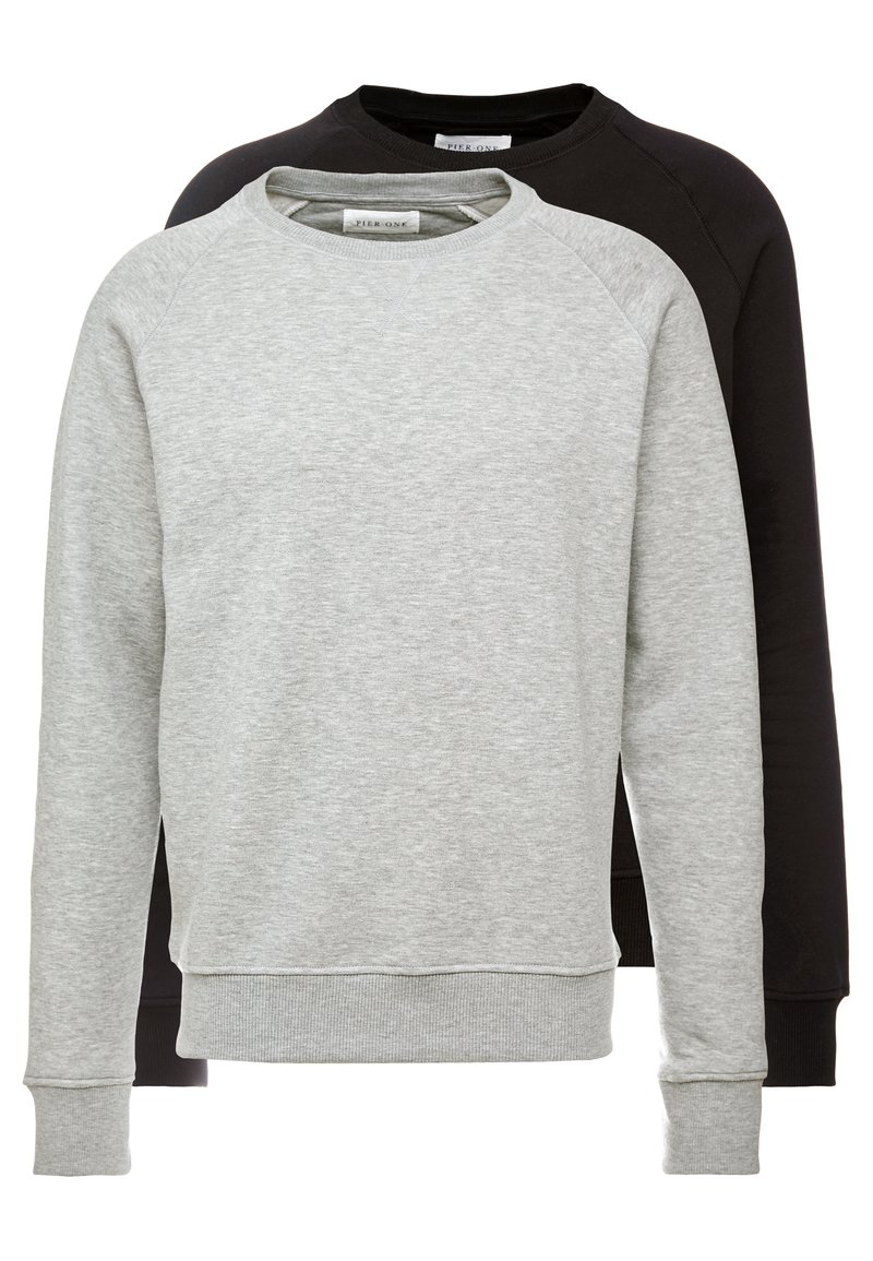 Pier One - 2 PACK - Sweatshirt - mottled light grey/black