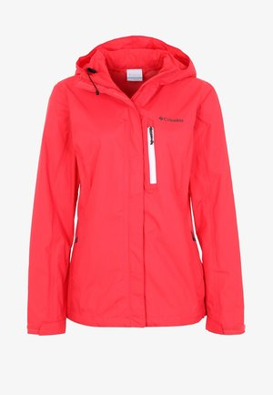 POURING ADVENTURE JACKET - Chaqueta Hard shell - red camellia/white