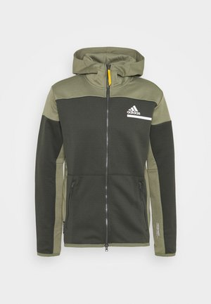 HOODIE AEROREADY HOODED TRACK  - Huvtröja med dragkedja - dark green